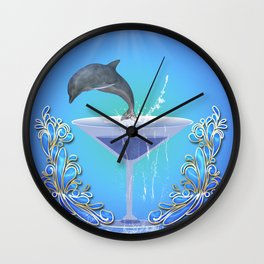 Dolphin jumping out of a glass Wall Clock