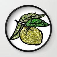 lemon Wall Clocks featuring Lemon  by Kris LeGates