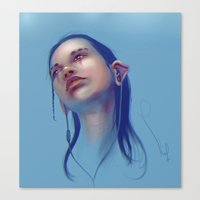 sci fi Canvas Prints featuring Sci-fi Music listening by Thubakabra