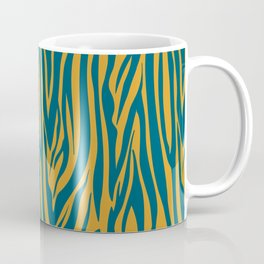 Teal and Gold Modern Zebra Print Pattern Coffee Mug