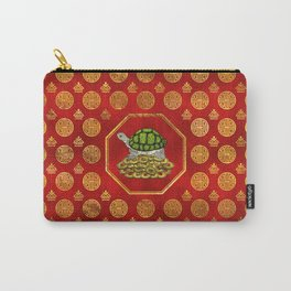 Golden Tortoise / Turtle Feng Shui on red Carry-All Pouch