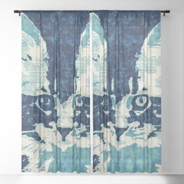 little cat Sheer Curtain