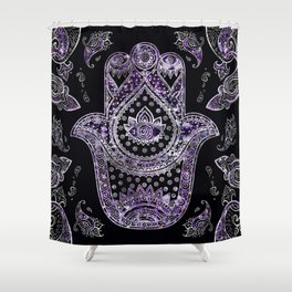 Hamsa Hand  - silver and amethyst Shower Curtain