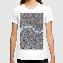 London color map city drawing illustration Thames T-shirt