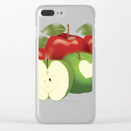 Apple with heart and a leaf in style Clear iPhone Case