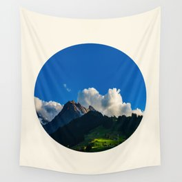 Green Mountain Valley Clouds & Blue Sky Wall Tapestry