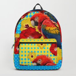 YELLOW-BLUE  FLORAL MACAWS & RED YELLOW HIBISCUS Backpack