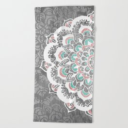 Pastel Floral Medallion on Faded Silver Wood Beach Towel