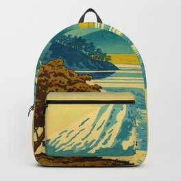 Japanese Woodblock Print Vintage Asian Art Colorful woodblock prints Mount Fuji Backpack