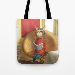 A cat reading a book Tote Bag