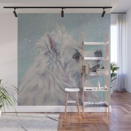 American Eskimo Dog portrait Fine Art Dog Painting by L.A.Shepard Wall Mural