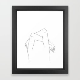 Arms and hands minimal line drawing illustration - Dane Framed Art Print