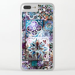 Celestial Tile Pattern Clear iPhone Case