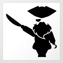 Bearded pirate with the sword and the hook Art Print