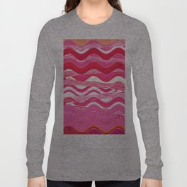 Red and Pink Waves Long Sleeve T-shirt