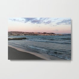 View to Pozzuoli from Lucrino Beach during sunset  Metal Print