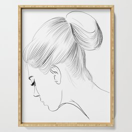 Fashion Illustration Hairdo Bridal Updo Hair Style Drawing Line Art Serving Tray