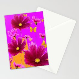 DECORATIVE YELLOW BUTTERFLIES & FUCHSIA PURPLE SPRING FLOWERS GARDEN ART Stationery Cards
