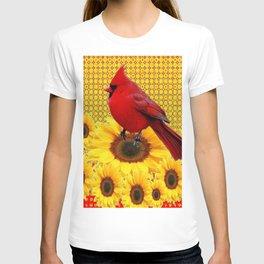 RED CARDINAL YELLOW SUNFLOWERS ART T-shirt