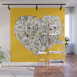 Camera Heart - on yellow Wall Mural