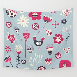 Scandi Birds and Flowers Blue Wall Tapestry