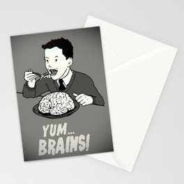 YUM... BRAINS! B&W Stationery Cards