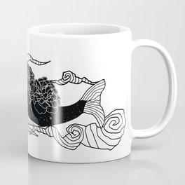 Flying galaxy whale black flower Coffee Mug