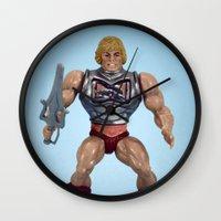 he man Wall Clocks featuring He-Man Battle Damage  by Fanboy30