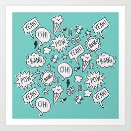 Funny Comic Words & Patterns Art Print