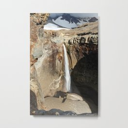 Mountain river, view of cascade waterfall on canyon Metal Print
