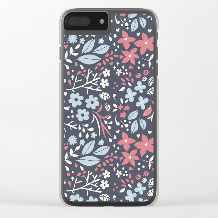 Floral pattern with doodles of flowers and leaves Clear iPhone Case
