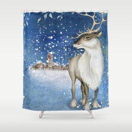 Christmas vintage deer #1 Shower Curtain