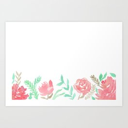 Pink Florals And Mint Leaves Art Print