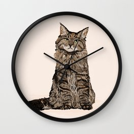 Maine Coon sitting cat portrait cute cat lady gift idea for cat owner cat lover animal pet friendly  Wall Clock