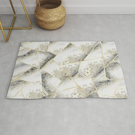 White Agate Gold Geometric Glam #1 #geo #gem #decor #art #society6 Rug