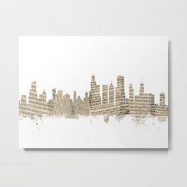Chicago Illinois Skyline Sheet Music Cityscape Metal Print