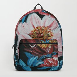 THANKFULNESS/ RED AND PINK FLORAL/ BLUE LEAVES  Backpack