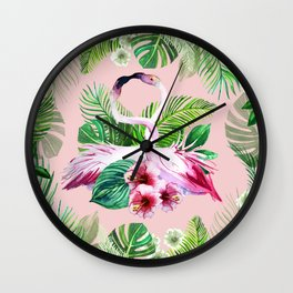 watercolor illustration of a tropical leaf and a pink flamingo Wall Clock