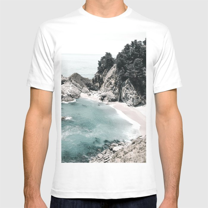 California Beach Graphic T-shirt by Andreas12 - White - LARGE - Mens Fitted Tee