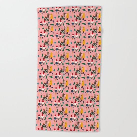 gnome pink Beach Towel