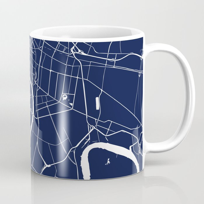 Bangkok Thailand Minimal Street Map - Navy Blue and White II Coffee Mug