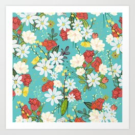 Pomegranate and daisy. Colorful flowers pattern Art Print