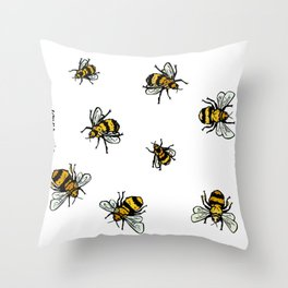Just Some Beez A - White Throw Pillow