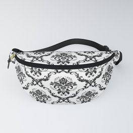 Black & White Vintage Floral Damasks Pattern Fanny Pack
