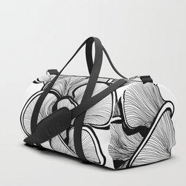 Mushrooms in black and white Duffle Bag