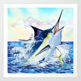 Breaching Blue Marlin Hunting with Boat in the background Art Print