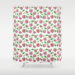 Strawberry skulls Shower Curtain