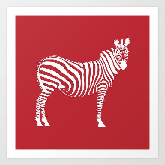 Big Red Zebra Art Print