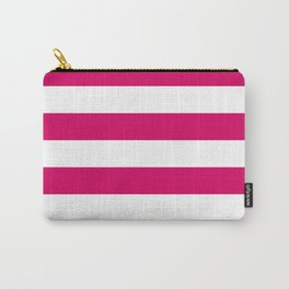 Bright Pink Peacock and White Wide Horizontal Cabana Tent Stripe Carry-All Pouch