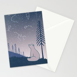 Bear and Constellations navy blue Stationery Cards
